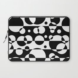 Black White Geometric Circle Abstract Modern Print Laptop Sleeve
