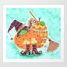 Halloween design with green background Art Print