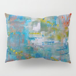 Modern Abstract Wall Art, A NEW Look, Blue vivid colors, living room wall art Pillow Sham