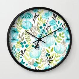 Watercolor/Ink Aqua Blue Floral Painting Wall Clock