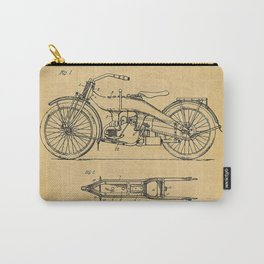 1919 Paper Vertical Motorcycle Patent Blueprint Carry-All Pouch