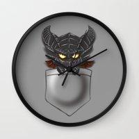 warcraft Wall Clocks featuring Dragon Pocket Tee by SlothgirlArt