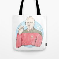 picard Tote Bags featuring Captain Jean-Luc Picard of the Starship Enterprise by A Rose Cast