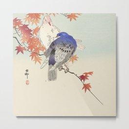 Two pigeons on autumn branch - Ohara Koson (1900-1936) Metal Print