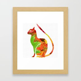 Fall Leaf Cat Framed Art Print