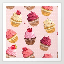 Retro Pink Cupcakes Art Print
