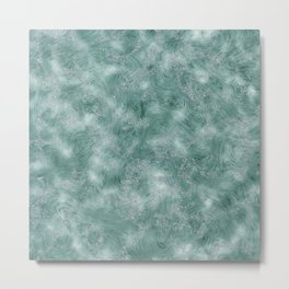 Teal Green Marble Texture Metal Print