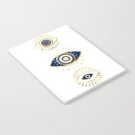evil eye times 3 navy on white Notebook