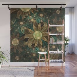 Shining Gems Blooming as Bronze and Copper Flowers Wall Mural