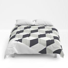 Gradient Cubes – Ebony Black / Warm Gray Abstract Print Comforters