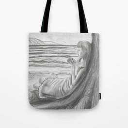 A Cool, Quieting Thought (Girl by tree on the beach) Tote Bag