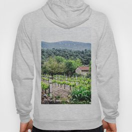 Country Farm | Cute Vineyard Cottage Farming Landscape Rolling Hills Green Mountains Grape Vines Hoody