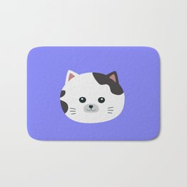 White Cat with spotted fur Bath Mat