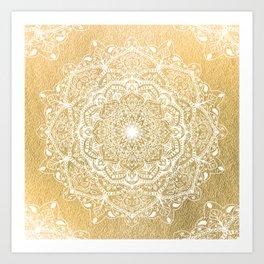 NATURE DETAILS MANDALA IN GOLD Art Print