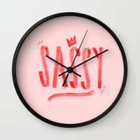sassy Wall Clocks featuring Sassy  by ridiculouslyhappysmiles