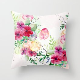 Vintage Flowers - Watercolor Floral Painting Throw Pillow