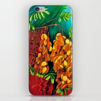 "cassia beck iPhone & iPod Skins featuring ""Cassia"", Fine Art Print, Oil painting, flowers painting, yellow, floral wall decor, flowers art by Adriana Calcines"
