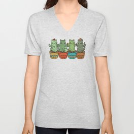 Catcus Garden (Single Row) Unisex V-Neck