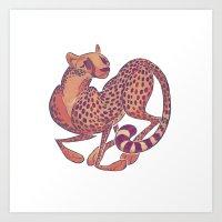 cheetah Art Prints featuring Cheetah by Anya McNaughton