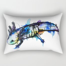 Rainbow Splash Axolotl Watercolour Rectangular Pillow