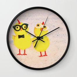 Hipster baby chickens   Wall Clock