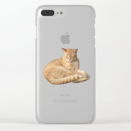 Sleepy ginger cat Clear iPhone Case