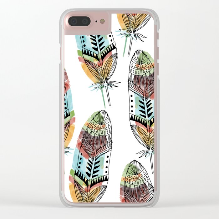 Aztec Watercolor feathers Clear iPhone Case