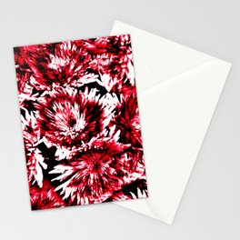 Red Black Abstract Flower Pattern  #Dahlias #Flowers Stationery Cards