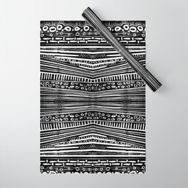 Linocut Tribal Pattern Wrapping Paper