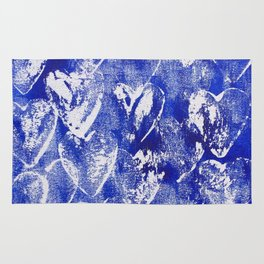 Hearts in blue and white Rug