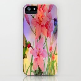 Painterly Hummingbirds And Flowers iPhone Case