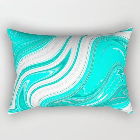 GreenishBlueishWhiteish Rectangular Pillow