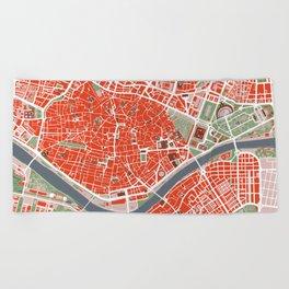 Seville city map classic Beach Towel