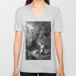 Gustave Dore - Jesus suffers agony in the garden of Gethseman Unisex V-Neck