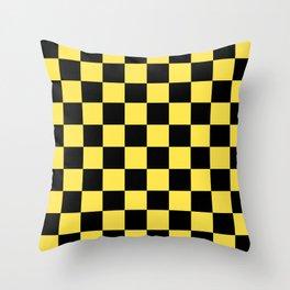 Checkered Pattern: Black & Taxi Yellow Throw Pillow