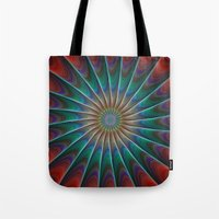 fractal Tote Bags featuring Peacock fractal by David Zydd