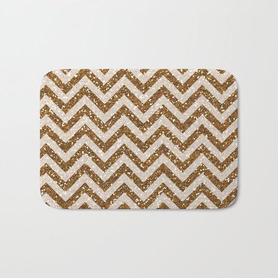 Sparkling brown glitter chevron pattern - coffee II Bath Mat