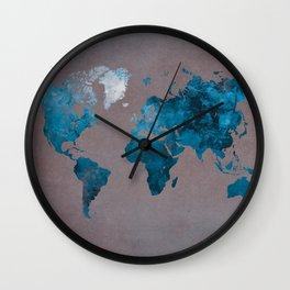 world map 104 blue #worldmap #map Wall Clock