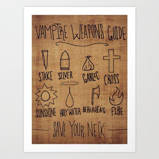 Vampire Weapons Guide Art Print