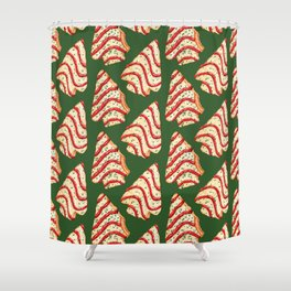 Christmas Tree Cakes Pattern - Green Shower Curtain