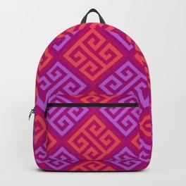 Pink & Purple Ornate Twists Geometric Pattern Backpack