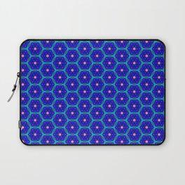 Pink Stars on Blue Laptop Sleeve
