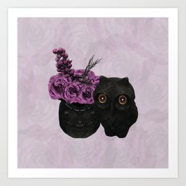 Thistle Floral Owl Art Print