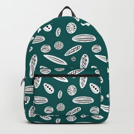 Many Autumn Plant Seeds Pattern in Green Backpack