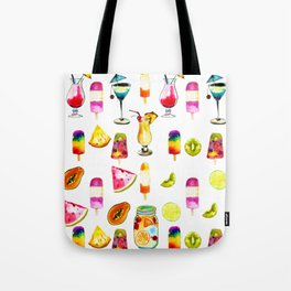 Watercolor Summer Fresh Fruits Cocktails Ice-cream Tote Bag