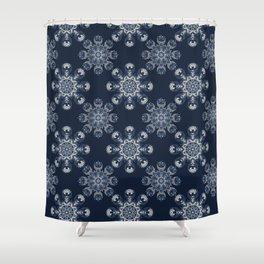Indigo Blue Feather Mandala Hand Drawn Shower Curtain
