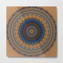 Rust Blue Mandala Design Metal Print