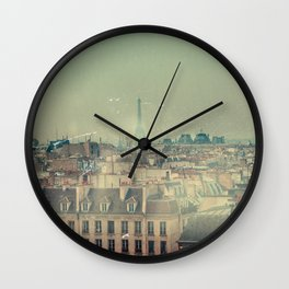 Eiffel Tower from Above, Vintage Styled Wall Clock