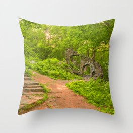Sun Kissed Forest Castle Ruins Throw Pillow