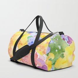 Modern whimsical pink purple yellow hand painted watercolor Duffle Bag